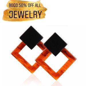 Black Red Diamond Acrylic Statement Drop Earrings